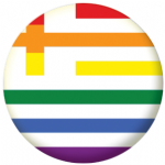 Greece Gay Pride Flag 58mm Button Badge